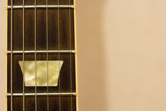 Guitar fret board. Close shot of guitar fret board Royalty Free Stock Image