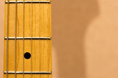 Guitar fret board. Close shot of guitar fret board Royalty Free Stock Photos