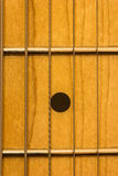 Guitar fret board. Close shot of guitar fret board Royalty Free Stock Photography