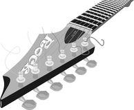 Guitar fretboard fingerboard. Neck of the guitar solo electric guitar with strings and professional locks Stock Photo