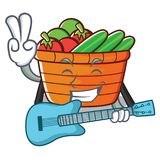 With guitar fruit basket character cartoon. Vector illustration Stock Photography