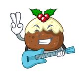 With guitar fruit cake character cartoon vector illustration