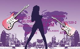 Guitar girl. Purple on the floor map of the world and women's graphic guitar vector illustration