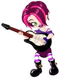 Guitar girl. Cool young rock girl playing guitar Royalty Free Stock Image