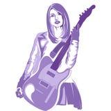Guitar girl jrock stock illustration