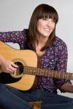 Guitar Girl Smiling Stock Image