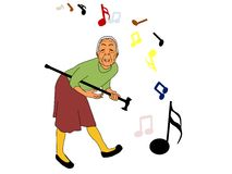 Guitar Grandma. An old woman playfully uses her walking stick as a guitar stock illustration