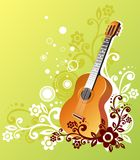 Guitar in green. Guitar on a green background with a white and brown vegetative ornament Royalty Free Stock Photo