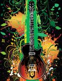 Guitar On Grunge Floral stock photos