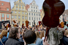 Guitar Guinness World Record event in Poland May 1 Royalty Free Stock Images