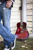 Guitar, guy leaning Royalty Free Stock Photo