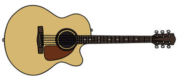Guitar. Hand drawing of a guitar Royalty Free Stock Image