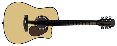 Guitar. Hand drawing of a acoustic guitar Stock Image