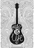 Guitar with hand drawn typography poster. Music is life Royalty Free Stock Photography