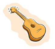 Guitar. A hand drawn vector illustration of a guitar, all of the illustration elements are on their own separate groups for easy editing, such as; the main Stock Image