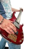 Guitar in hands. On white stock photos