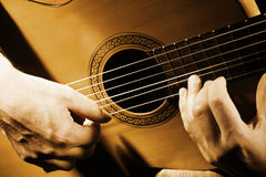 Guitar hands musical string Stock Photo