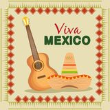 Guitar and hat to mexican traditional event. Vector illustration stock illustration