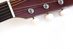 Guitar head. Neck of an acoustic guitar Royalty Free Stock Photos