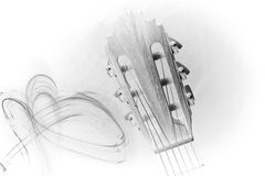 Guitar head drawing Royalty Free Stock Photography