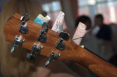 Guitar head with money Royalty Free Stock Photo
