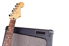 Guitar headstock & amplifier Royalty Free Stock Image