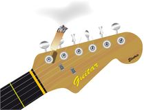Headstock With Cigarette Isolated. Guitar headstock with a cigarette attached to a string Royalty Free Stock Photography