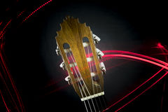 Guitar headstock. A close up of the headstock of an acoustic flamenco guitar Stock Photos