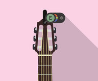Guitar headstock with electric tuner for perfect pitch flat long shadows  illustration. Guitar tuning concept. JPG and  EPS Royalty Free Stock Photo