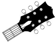 Guitar Headstock Outline Drawing. A traditional guitar headstock with strings and tuners Royalty Free Stock Images