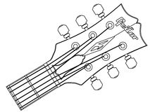 Guitar Headstock Outline. A traditional guitar headstock with strings and tuners Stock Photos