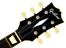 Guitar Headstock. A traditional guitar headstock with strings and tuners Stock Image