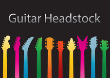 Guitar headstocks. Colours vector set Royalty Free Stock Image