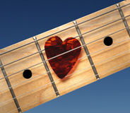 Guitar with heart Stock Photo