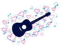 Guitar and heart Royalty Free Stock Photo