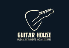 Guitar house outline logo. Gutar house  logo. Guitar headstock in a plectrum shape Royalty Free Stock Photography
