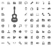 Guitar icon. Media, Music and Communication vector illustration icon set. Set of universal icons. Set of 64 icons.  royalty free illustration