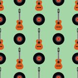 Guitar icon stringed musical instrument vector illustration seamless pattern background Stock Photos