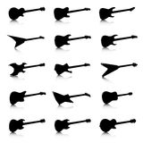 Guitar icons set, fifteen different models Stock Photos