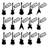 Guitar icons set, fifteen different models Royalty Free Stock Photos