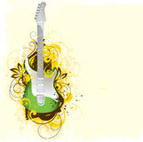 Guitar Illustration. Illustration of a green and white guitar against a retro/grunge design, on a pale yellow background Stock Photo