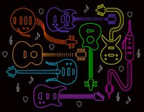 Guitar illustration in neon colors on black. Guitar illustration in neon colors on a black background. For print or web Stock Images