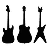 Guitar illustration silhouette set. Isolated on white Royalty Free Stock Image