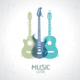 Guitar. Illustration with an silhouette three guitar Royalty Free Stock Image