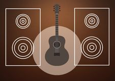 Guitar illustration with speaker icons against brown background Royalty Free Stock Photos