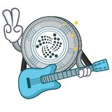With guitar IOTA coin character cartoon. Vector illustration Royalty Free Stock Photo