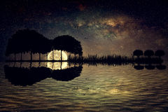 Guitar island moonlight. Trees arranged in a shape of a guitar on a starry sky background in a full moon night. Music island with a guitar reflection in water Stock Photography