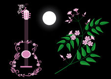 Guitar and jasmine. Pink silhouette of a guitar, blooming branch of jasmine and moon on a black background Stock Photos