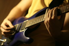 Guitar jazz solo. Guitarist play solo song on guitar Royalty Free Stock Photos