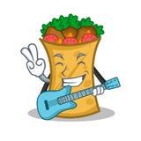 With guitar kebab wrap character cartoon. Vector art royalty free illustration